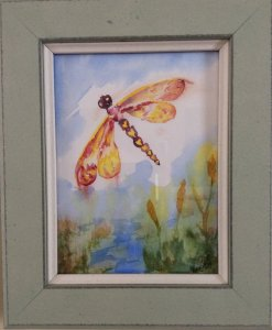 """Commissioned miniature, """"Dragonfly Dreams"""" #WorldWatercolorGroupIMG_3341"""
