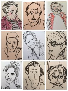 2 minute ink character sketches – not aiming for caraciture but love capturing faces simply, s
