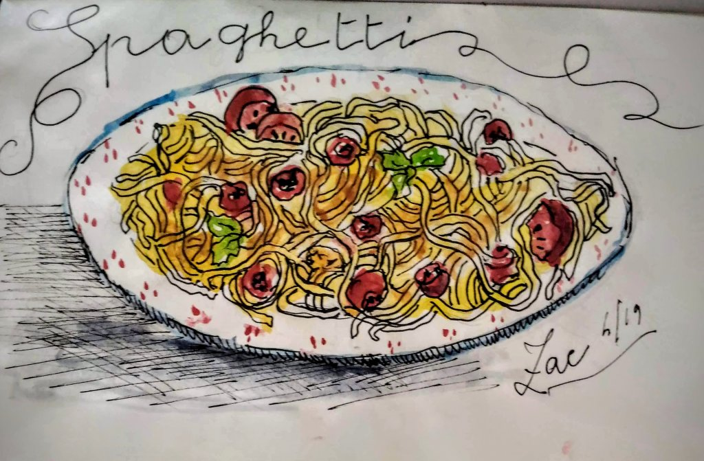 Watercolor and ink pen Pitt artist .A forkful of spaghetti with tomato and basil to soothe hunger !!
