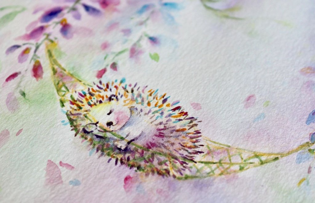 Hedgehog Sleeping Watercolor Painting by Qinghong Wei - Doodlewash