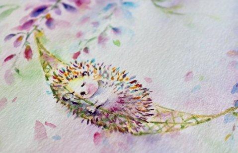 Hedgehog Sleeping Watercolor Painting by Qinghong Wei - Doodlewash