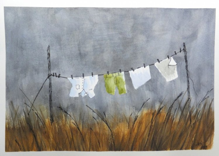 Followed Peter Sheeler on Youtube. W&N pro watercolors. Rainy Day Laundry – Copy