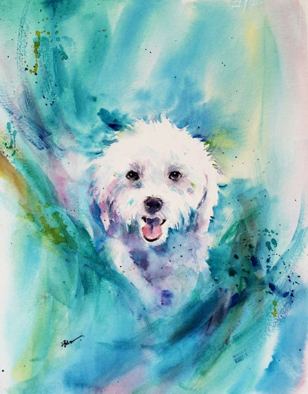 Dog Watercolor Painting by Qinghong Wei - Doodlewash