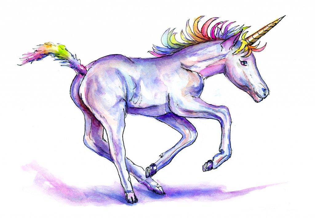 Unicorn Day Watercolor Illustration - Day 9 - Doodlewash