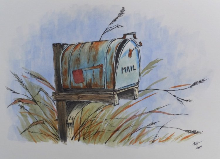 Inspired by Peter Sheeler on Youtube. W&N pro watercolors and micron Vintage Mailbox