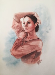 Little watercolor sketch in my Pentalic sketchbook – watercolor and some colored pencils 61086