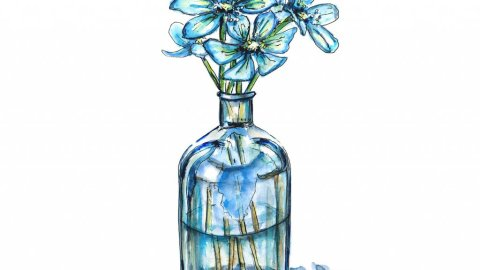 True Blue Flowers Vase Illustration - Doodlewash
