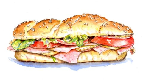 Sub Sandwich Illustration - Doodlewash