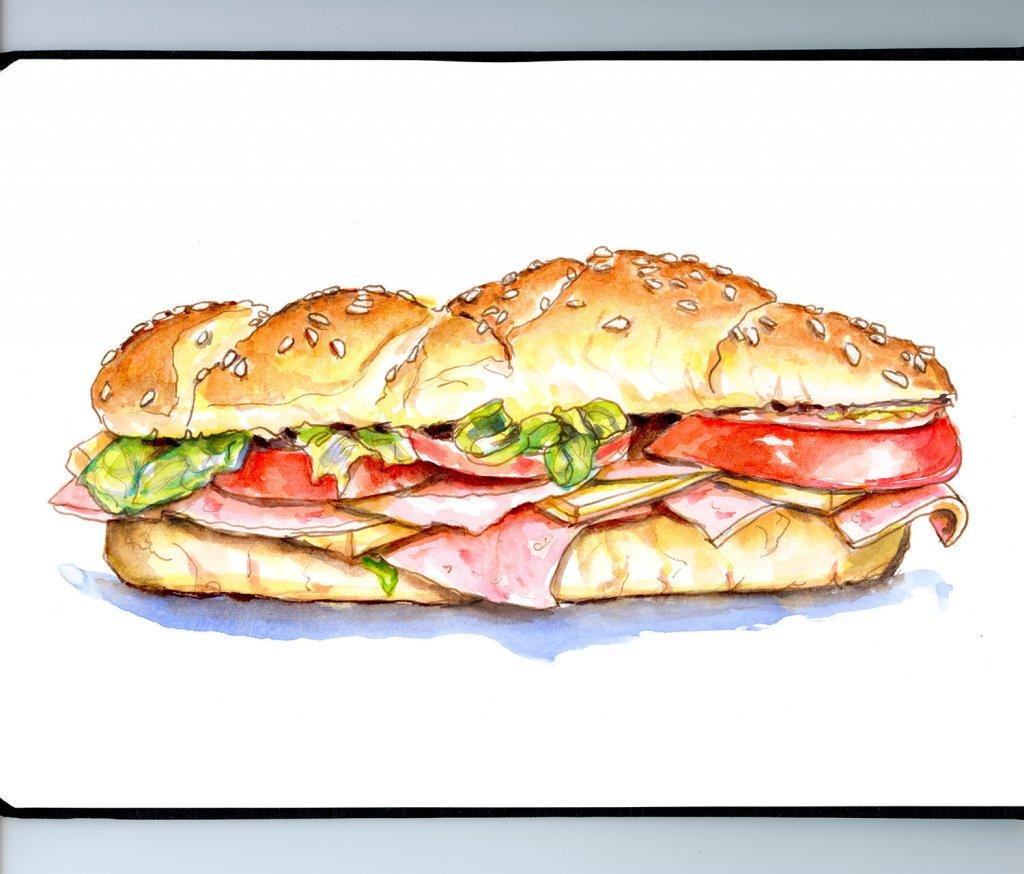 Day 13 - Sub Sandwich Illustration - Doodlewash