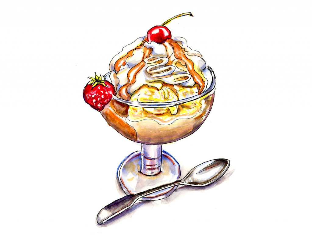 Dessert Silver Spoon Watercolor Illustration - Doodlewash