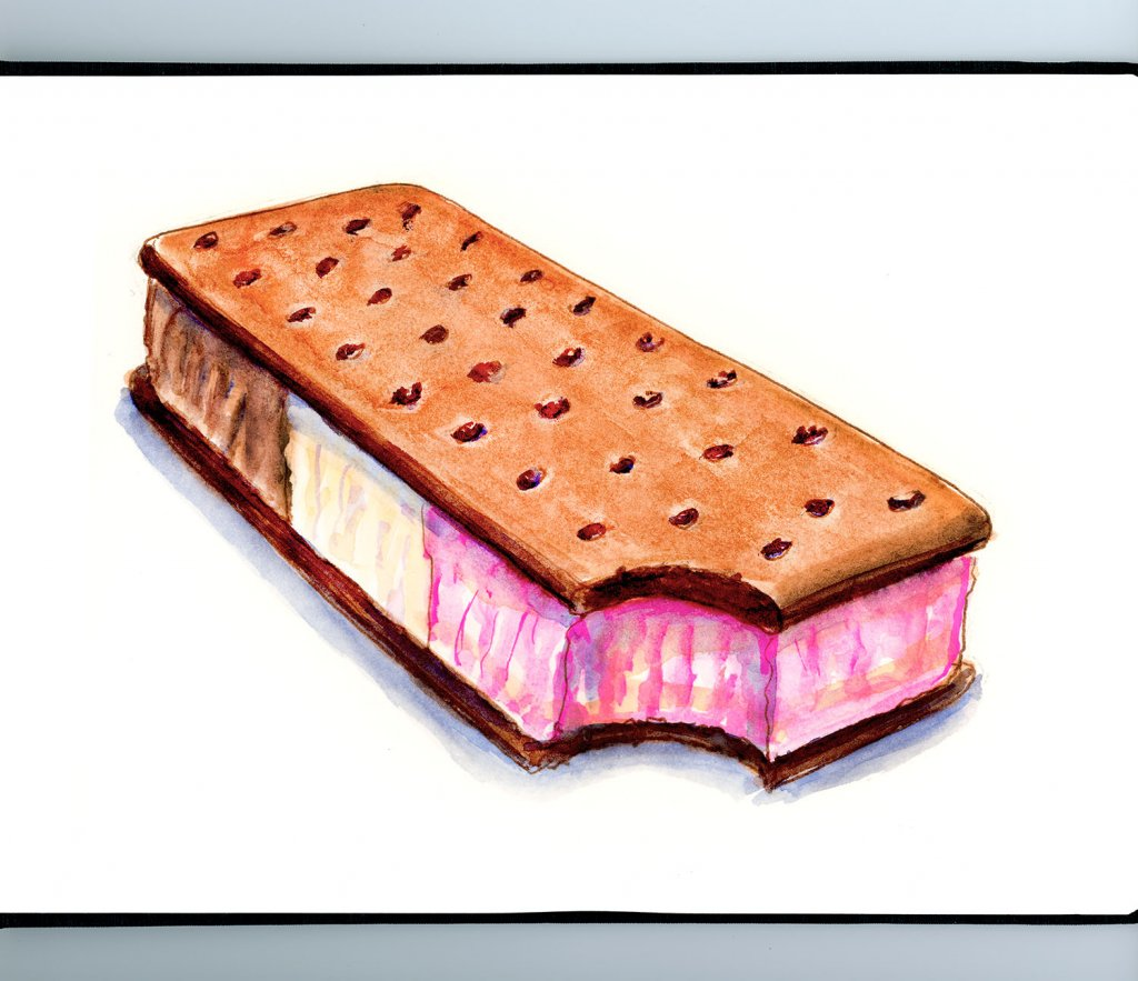 Day 17 - Ice Cream Sandwich Neapolitan Illustration_IG