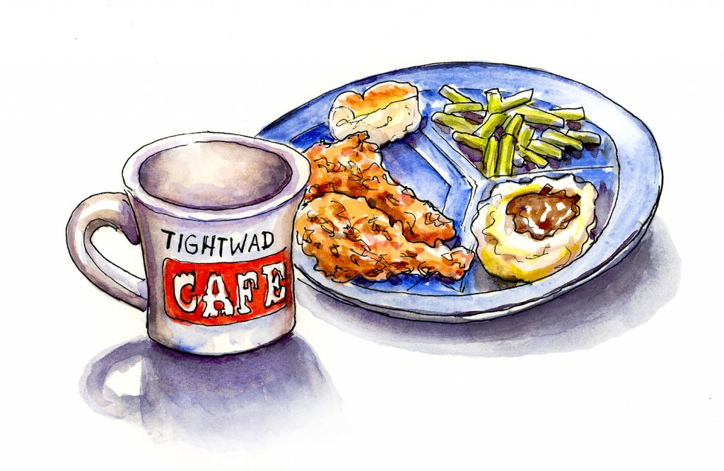 Tightwad Cafe Diner Food Illustration - Doodlewash