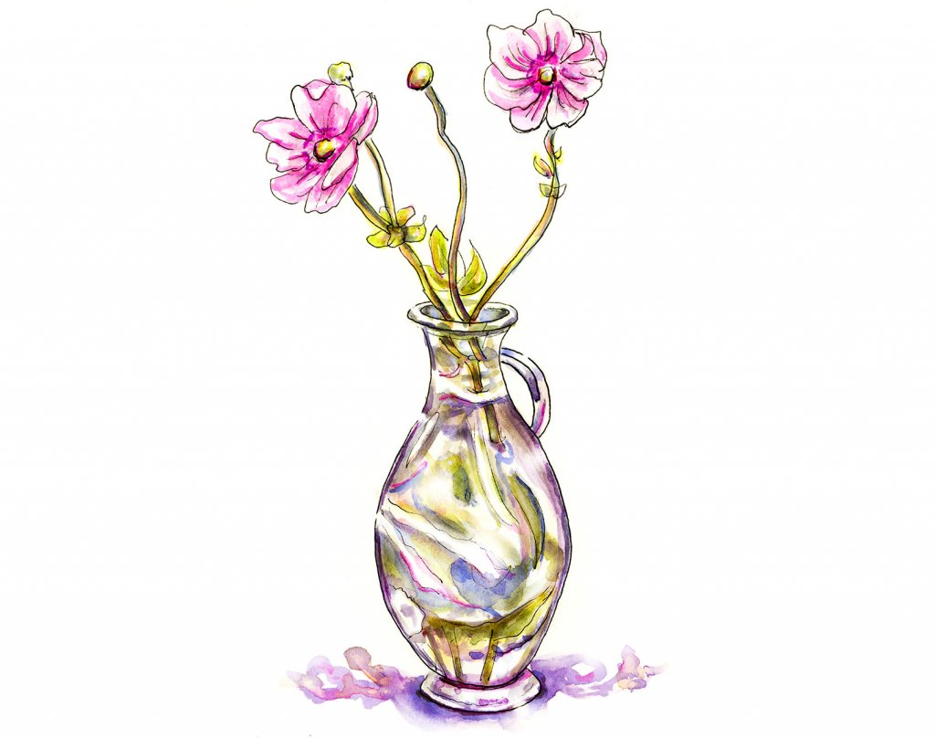 Flowers Vase Glass Watercolor Illustration - Doodlewash