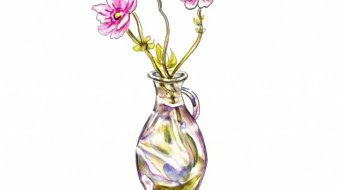 Flowers Vase Glass Watercolor Illustration - Doodlewash