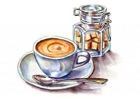 Coffee and Sugar Watercolor Illustration - Doodlewash