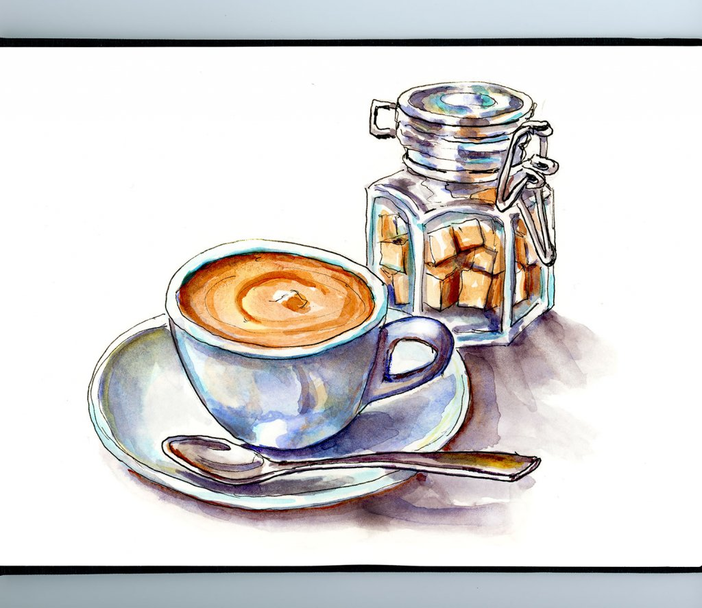 Day 28 - Coffee and Sugar Watercolor Illustration_IG