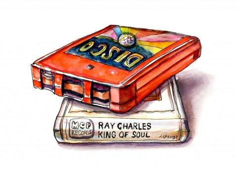 8 Track Tapes Watercolor Illustration - Doodlewash