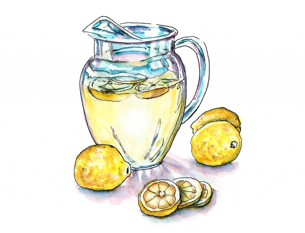 Lemonade Pitcher Watercolor Illustration - Doodlewash
