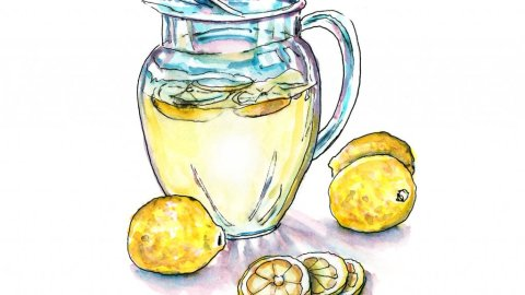 Lemonade Pitcher Watercolor Illustration - Doodlewash