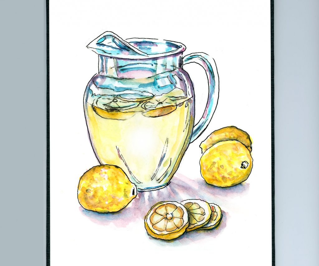 Day 3 - Lemonade Pitcher Watercolor Illustration - Doodlewash