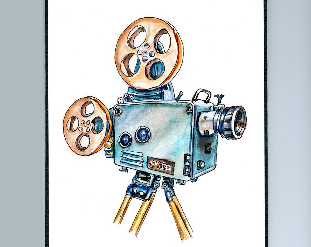 Day 7 - Vintage Cinema Camera Illustration - Doodlewash