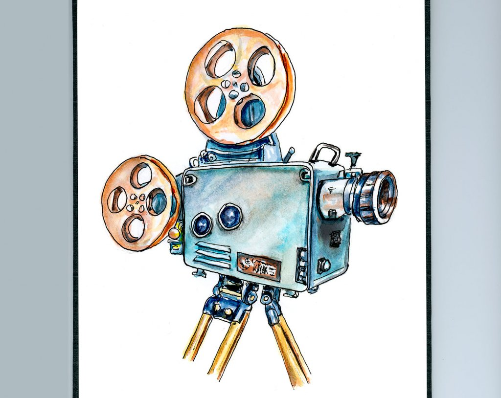 Day 7 - Vintage Cinema Camera Illustration - Doodlewash