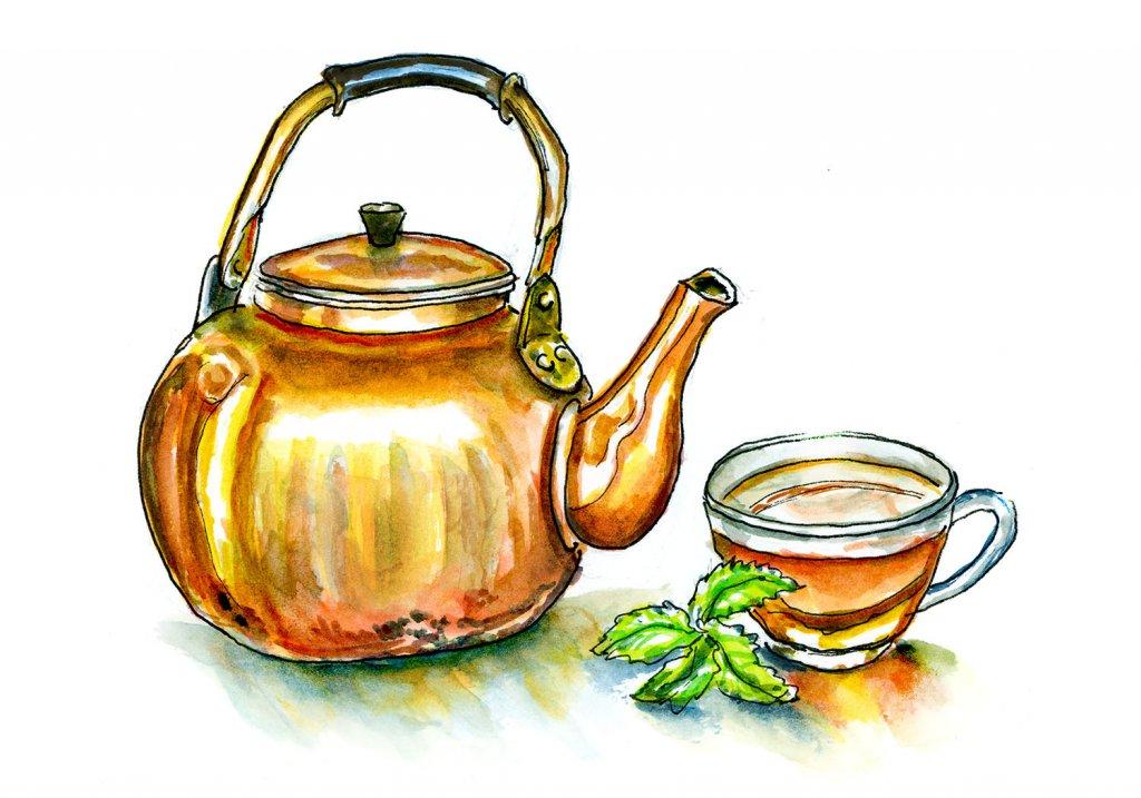 Gold Teapot Watercolor Illustration - Doodlewash