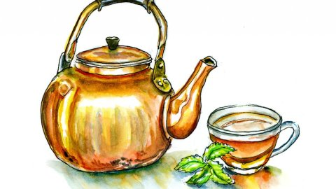 Gold Teapot Watercolor Illustration - Doodlewash