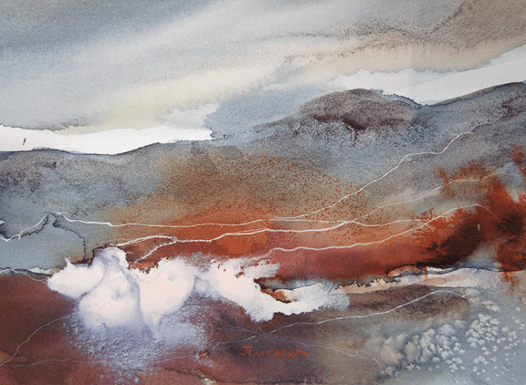 Imagined Landscape. I like experimenting and using other media in my watercolors to create interesti