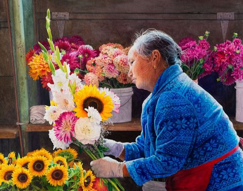 Flower Merchant Watercolor Painting by Matthew Bird - Doodlewash