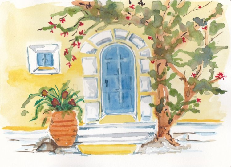 May 3 Prompt-Mellow Yellow. I decided on a Mellow Yellow House. #doodlewashmay2019 #watercolorpracti