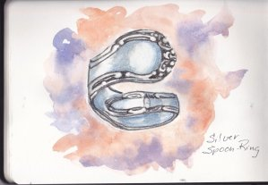 Prompt Day 17-Silver Spoon or my version is a silver spoon-ring. #doodlewashmay2019 #watercolorpract