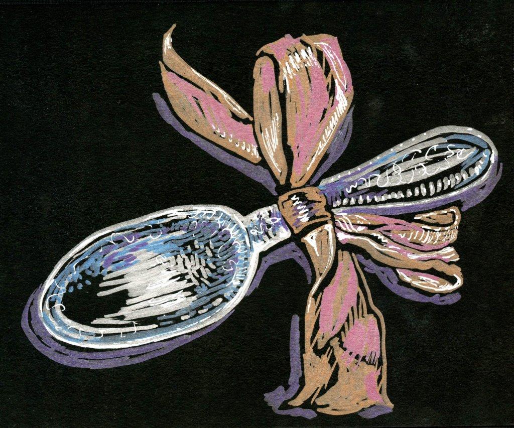 Silver Spoon-Zebra Pen Metallic Brush Pen in Hahnemühle black book Silver Spoon-Zebra Pen Metallic
