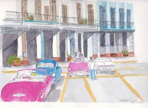 Doodlewash Prompt-Tickled Pink. This is a street scene that I did when we visited Havana, Cuba and e