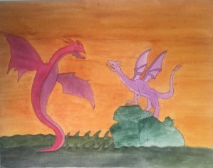 Conversing Dragons on canvas watercolor board. Picture doesn't capture the glow of the quinacrine