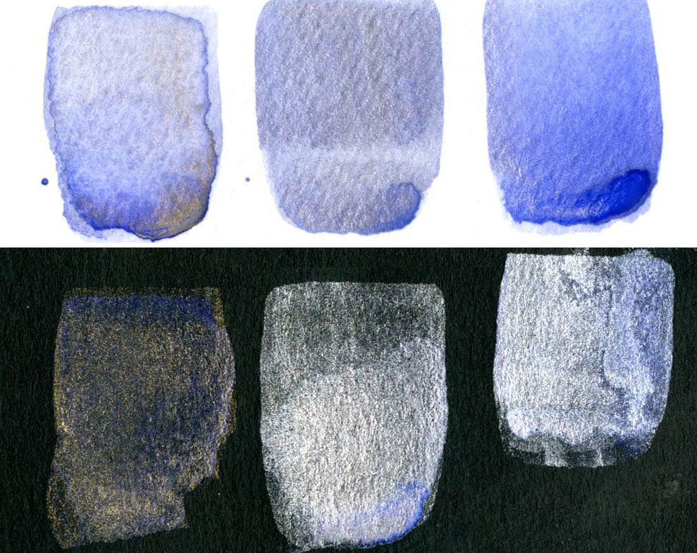 Non-Iridescent Iridescent Watercolor Mixes Ultramarine Blue Violet