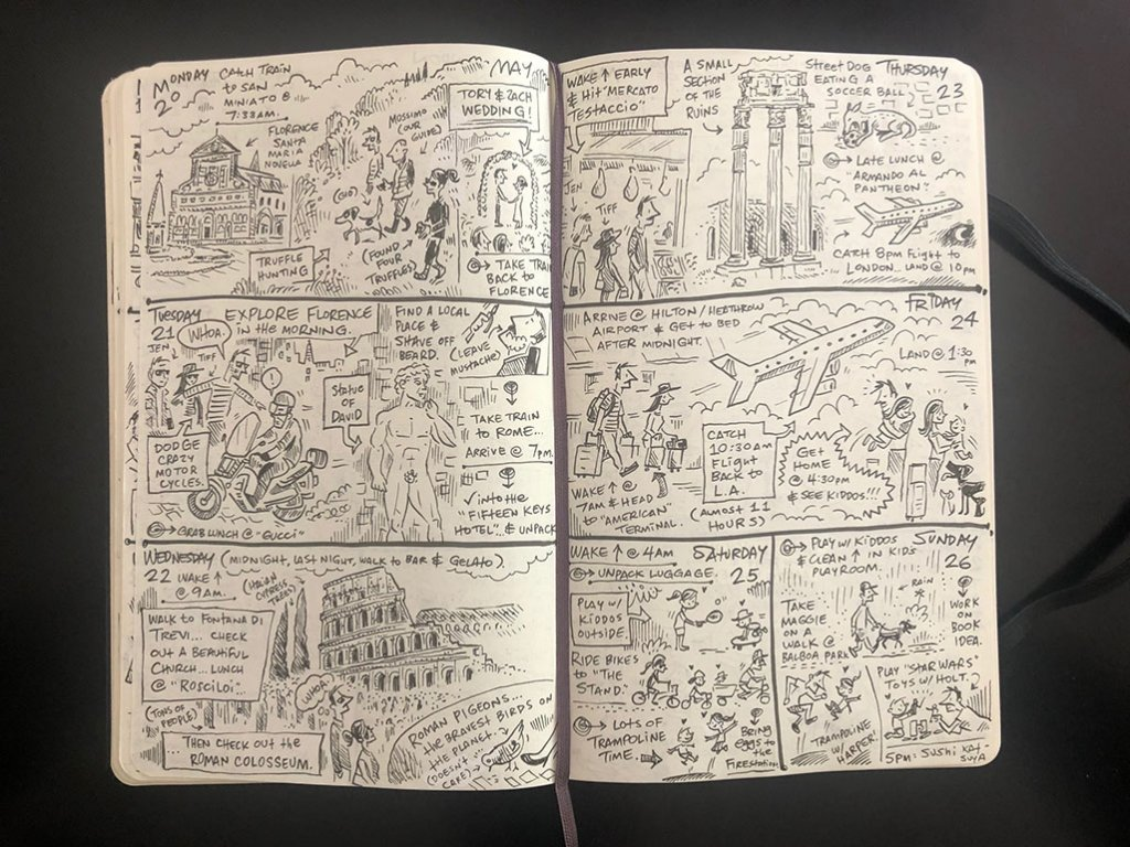 Daily Illustrated Travel Journal Pages by Brady Smith