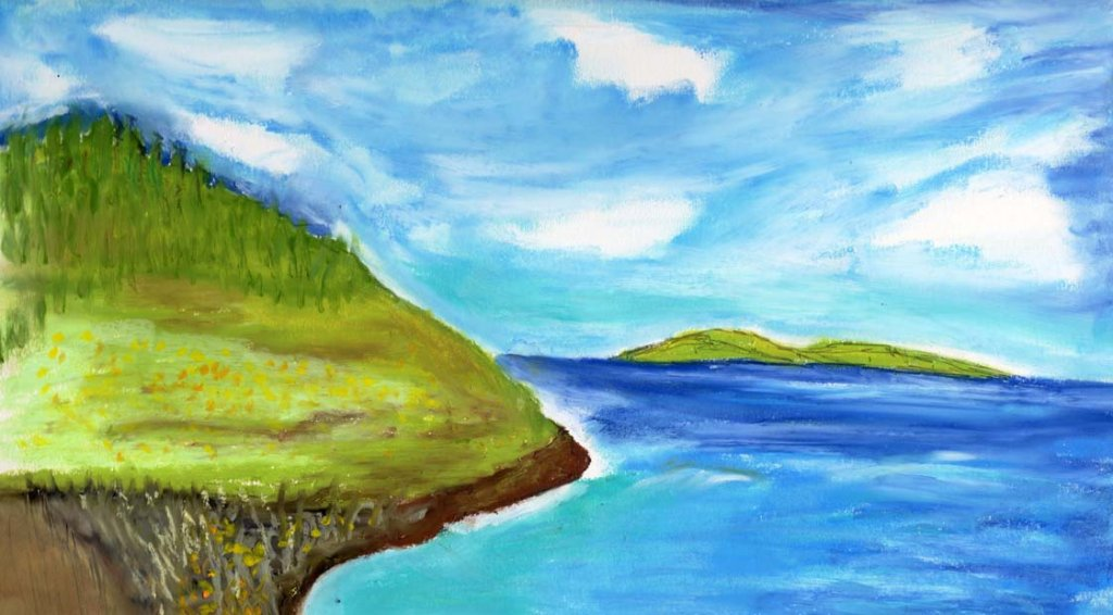 June Challenge – Day 5. Blue Sky. Oil Pastel. C9427782-5254-4409-A21B-9315A1536364