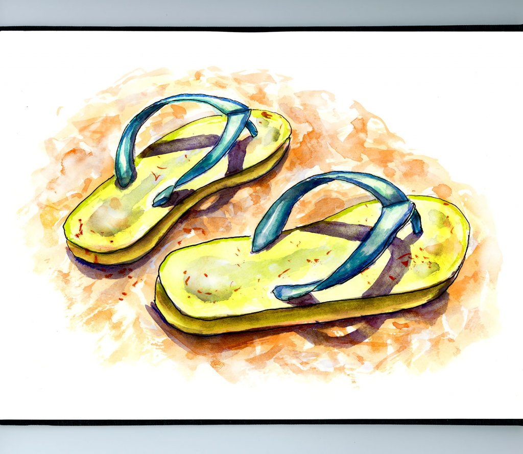 Day 10 - Flip Flops Sand Watercolor Illustration_IG