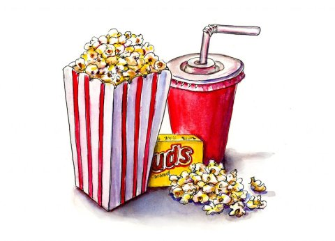 Movie Popcorn Drink Watercolor Illustration