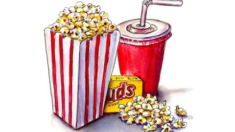 Movie Popcorn Drink Watercolor Illustration