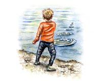 Day 22 - Skipping Stones Rock Boy Watercolor Illustration