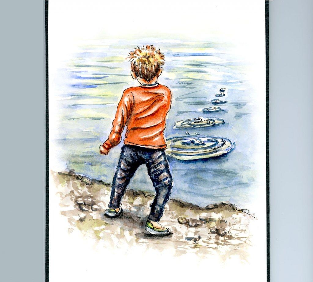 Skipping Stones Rock Boy Watercolor Illustration Sketchbook Illustration