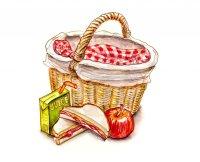 Childhood Picnic Food Watercolor Illustration