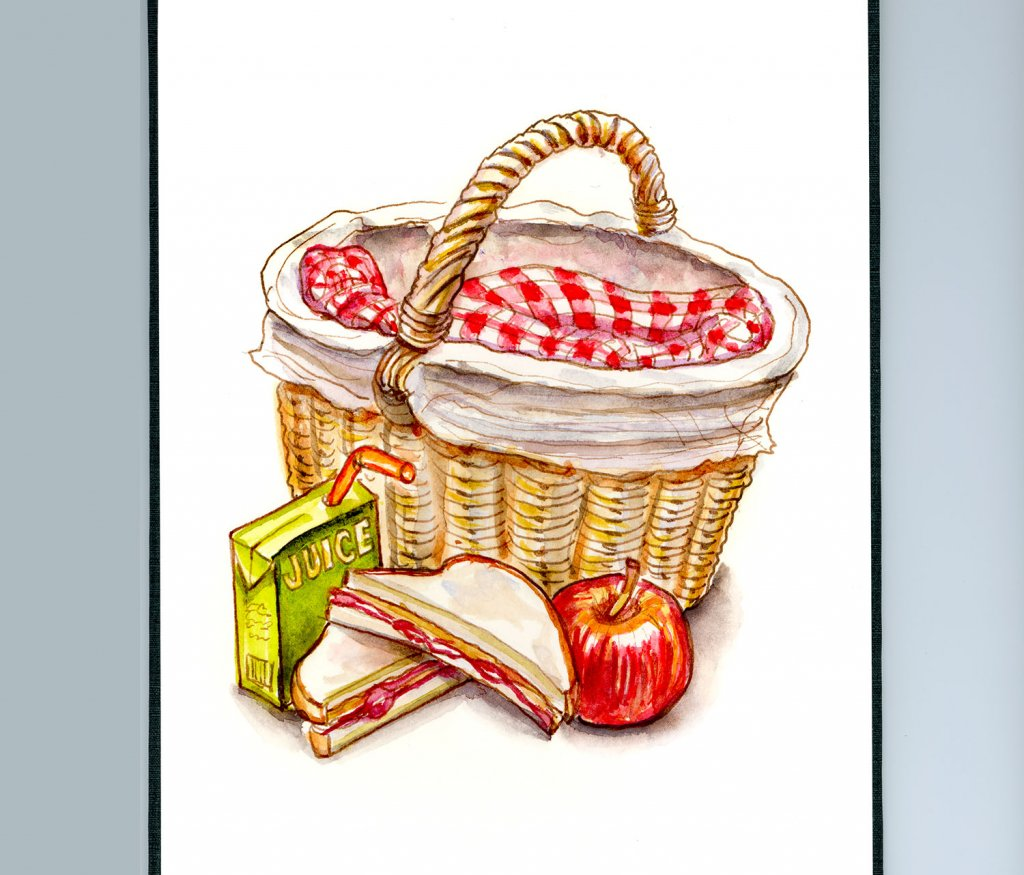 Childhood Picnic Food Watercolor Illustration Sketchbook Detail