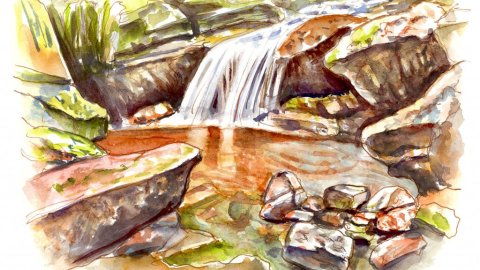 Little Waterfall Watercolor Illustration