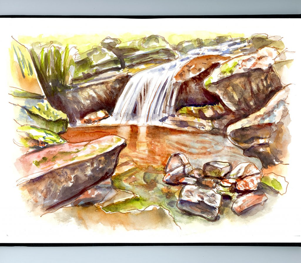 Little Waterfall Watercolor Illustration Sketchbook Detail