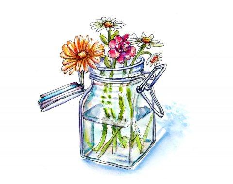 Wildflowers Vase Watercolor Illustration