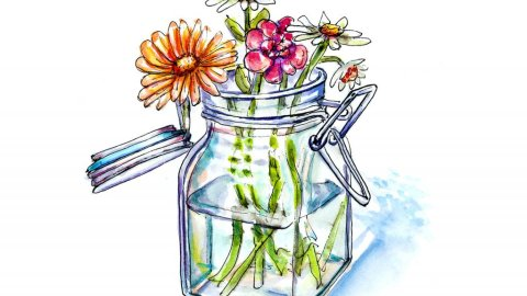 Wildflowers Vase Watercolor Illustration