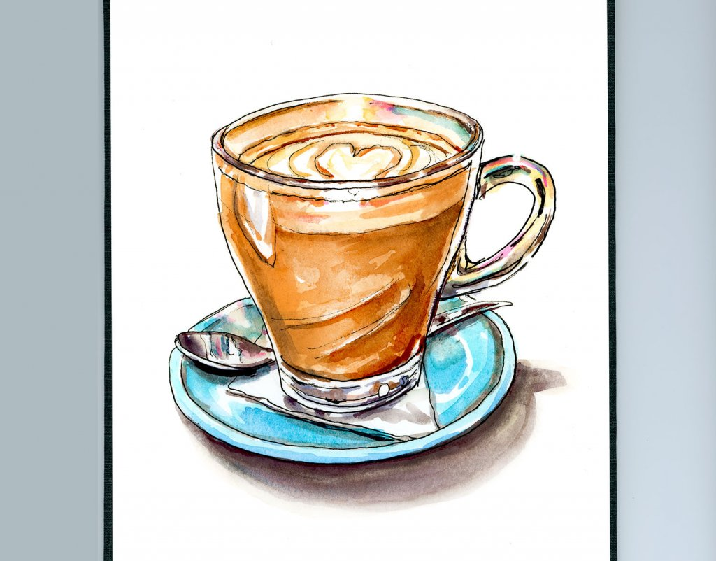 Cappuccino Mug Watercolor Illustration Sketchbook Detail